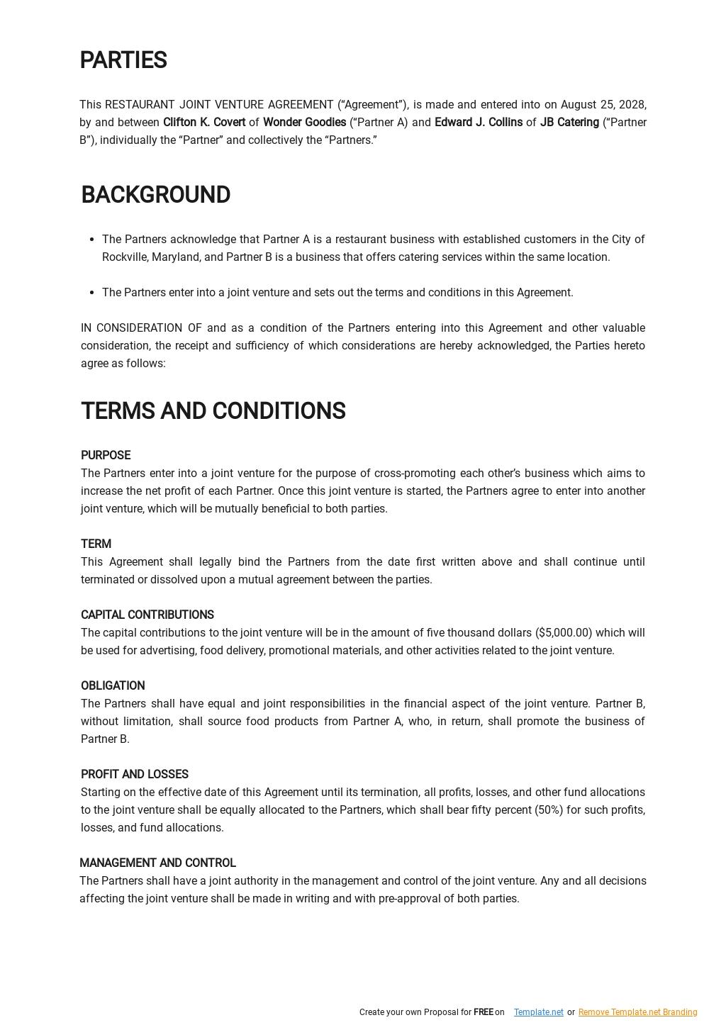 Restaurant Joint Venture Agreement Template 1.jpe