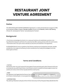Restaurant Joint Venture Agreement Template