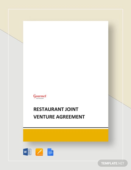 Restaurant Joint Venture Agreement Template