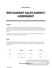 Restaurant Sales Agency Agreement Template