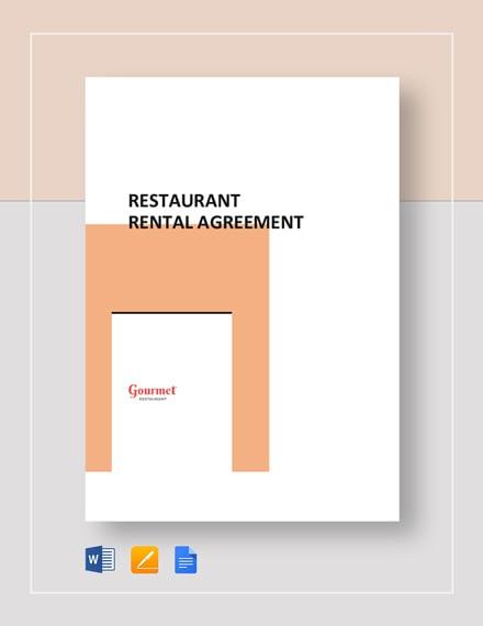 Restaurant Rental Agreement Template