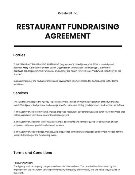 Restaurant Fundraising Agreement Template