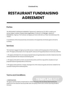 Restaurant Fundraising Agreement Template