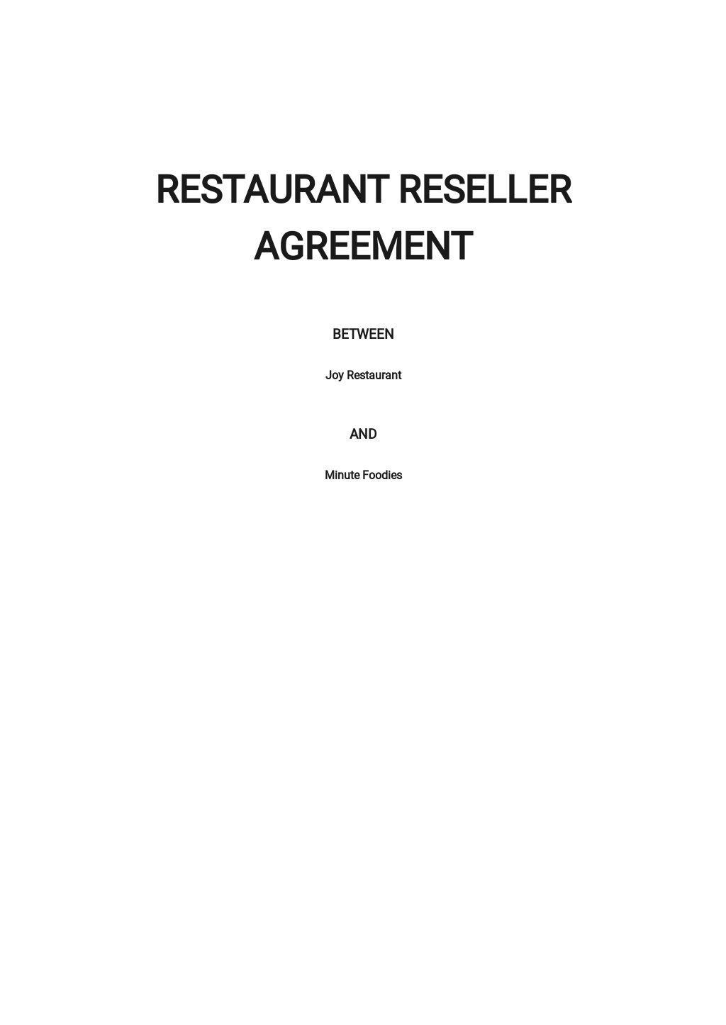 Restaurant Reseller Agreement Template
