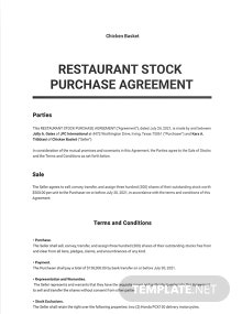 Restaurant Stock Purchase Agreement Template