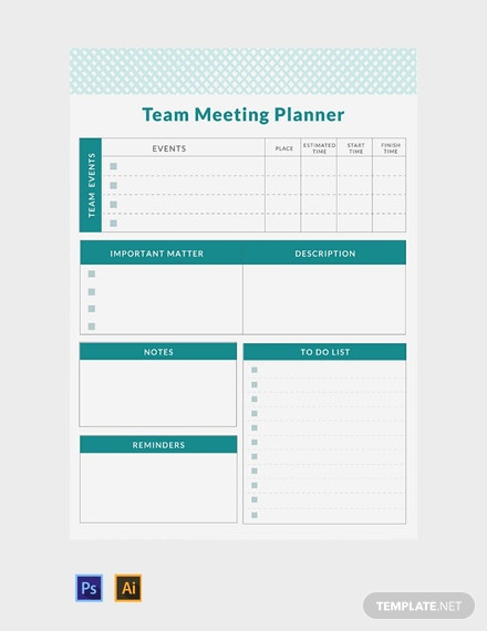 Free Team Meeting Planner Template
