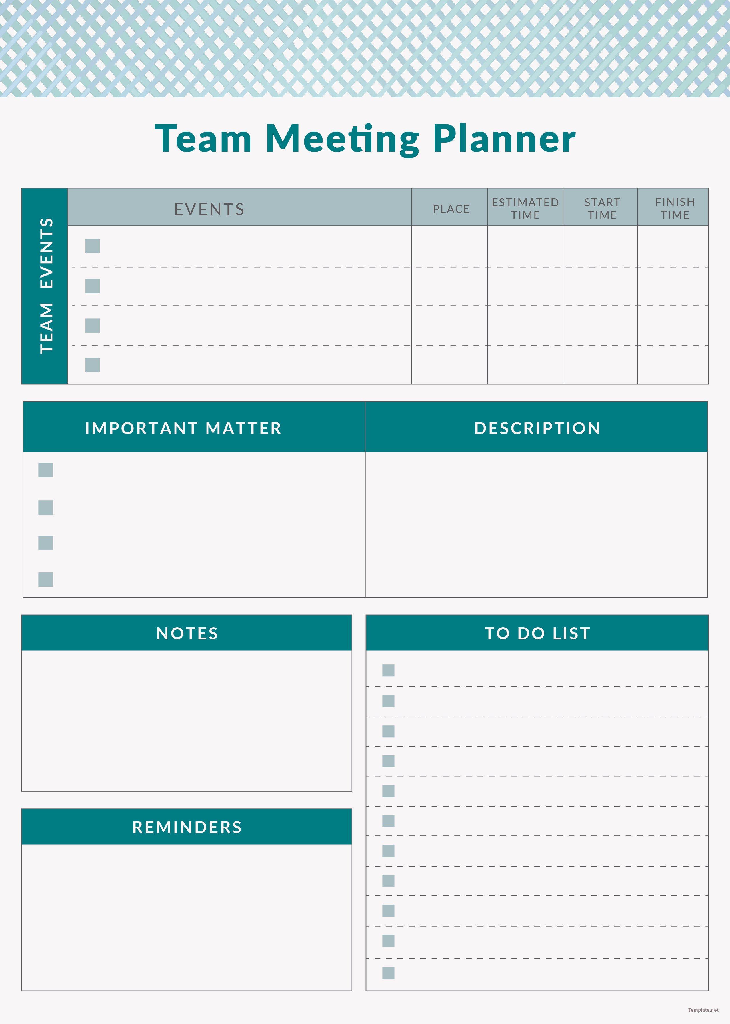 free team meeting planner template in adobe illustrator
