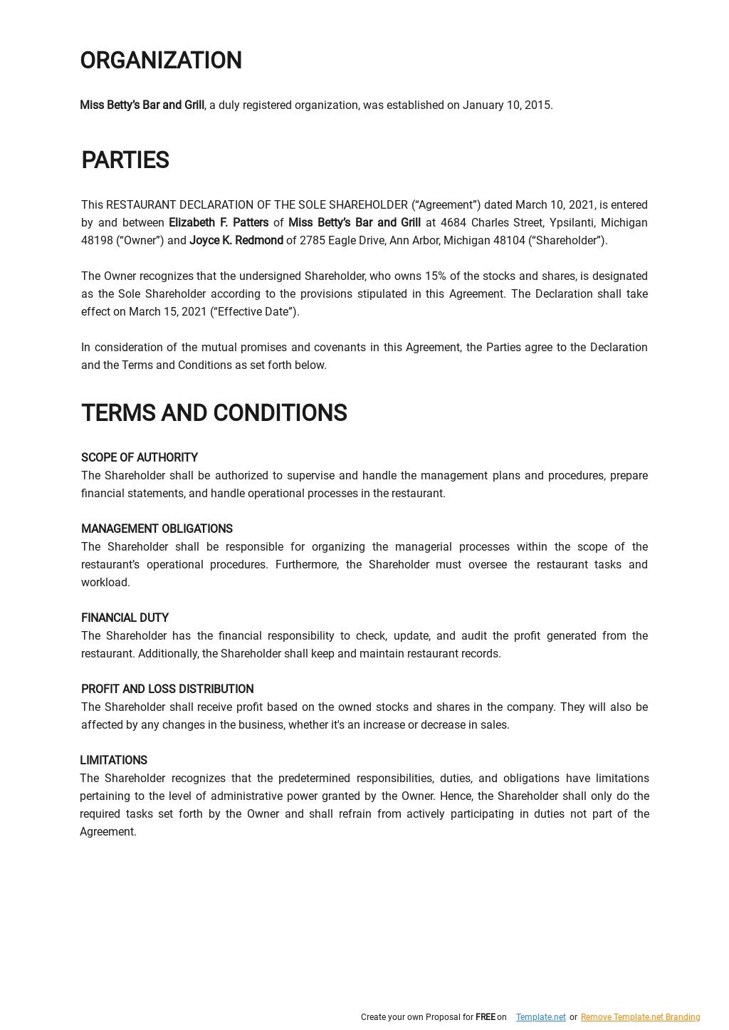 Restaurant Declaration of the Sole Shareholder Template 1.jpe