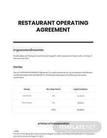 Restaurant Operating Agreement Template