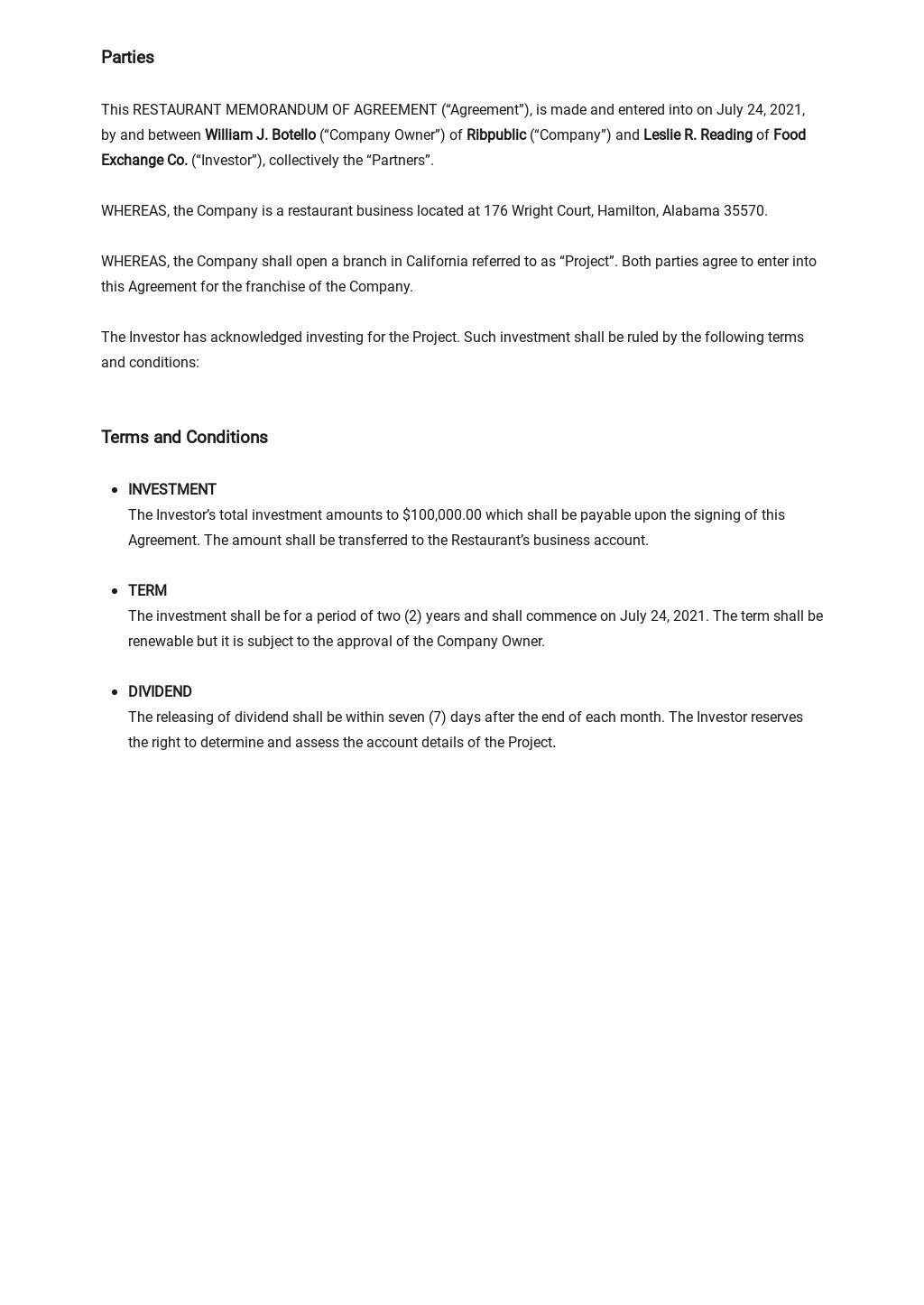 Restaurant Memorandum of Agreement Template 1.jpe