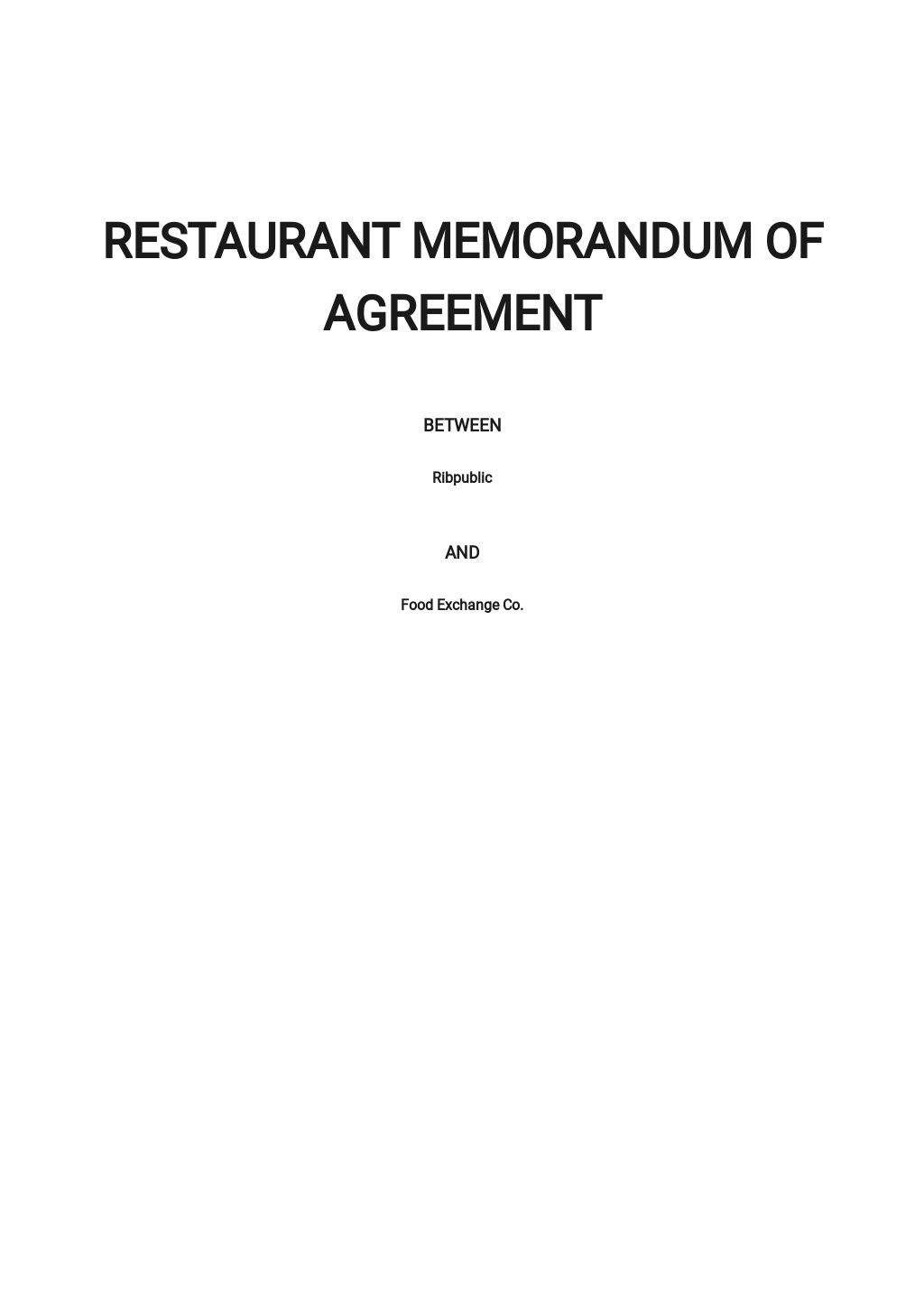 Restaurant Memorandum of Agreement Template