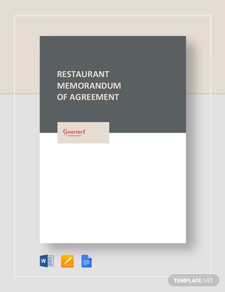 Restaurant Memorandum of Agreement Template