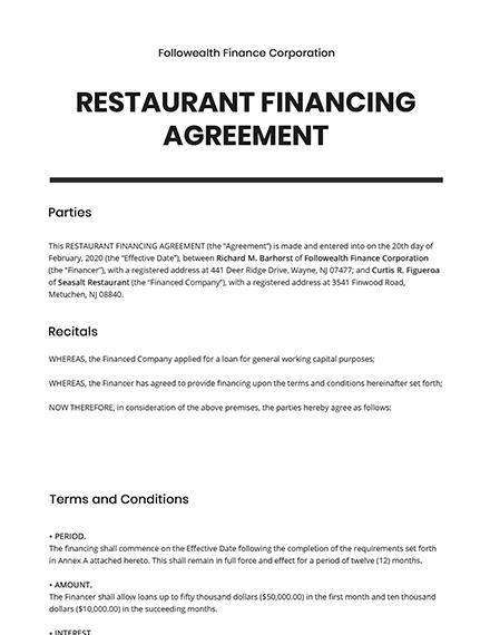 Restaurant Financing Agreement Template