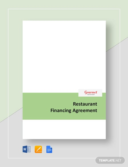 Restaurant Financing Agreement Template