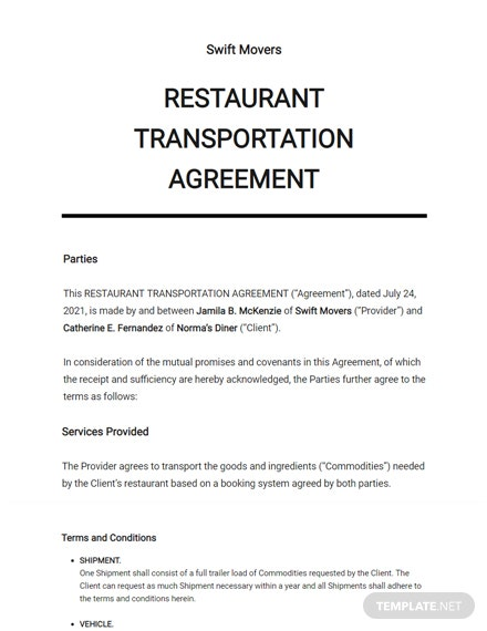 Restaurant Transportation Agreement Template