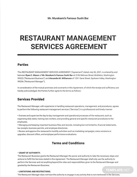 Restaurant Management Services Agreement Template