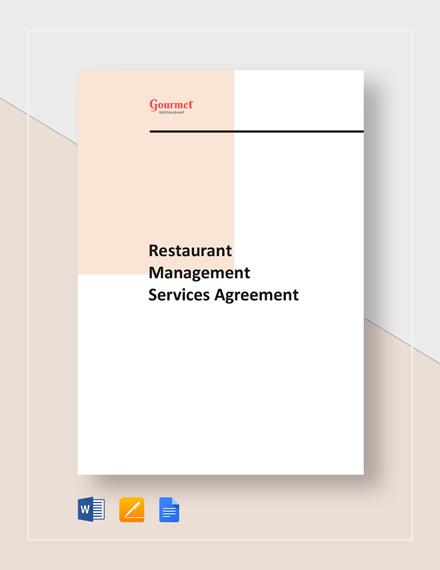 Restaurant Management Services Agreement Template