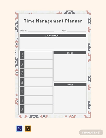 free time management planner template download 29 planners in