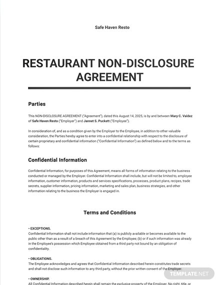 Restaurant Non Disclosure Agreement Sample