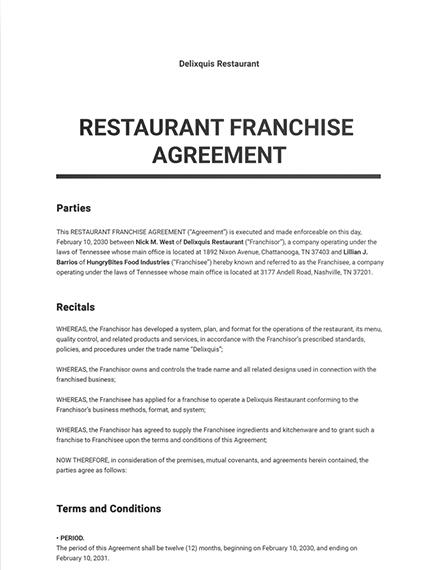 Restaurant Franchise Agreement Template