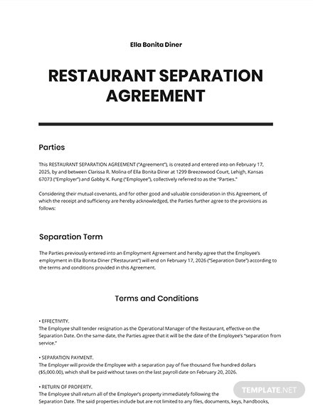 Restaurant Separation Agreement