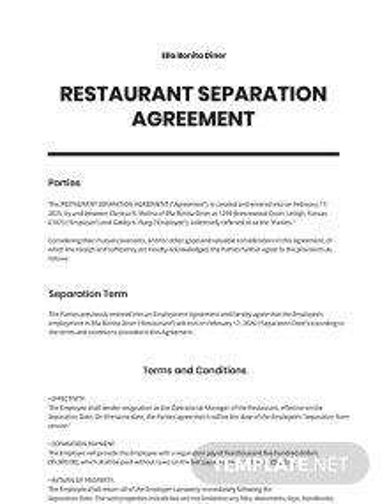 Restaurant Separation Agreement Template