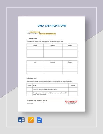 Restaurant Daily Cash Audit Form Template