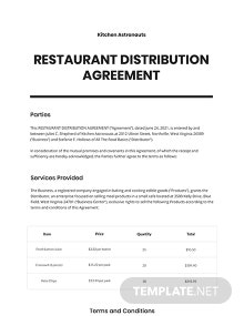 Restaurant Distribution Agreement Template
