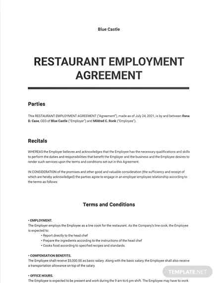 Restaurant Employment Agreement Template