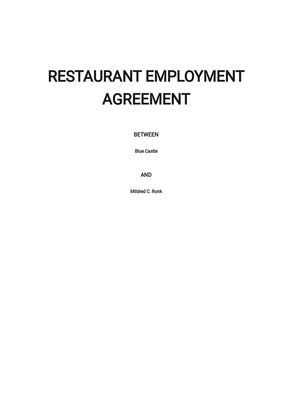 Restaurant Employment Agreement Template