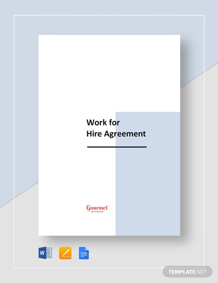 Restaurant Work for Hire Agreement Template