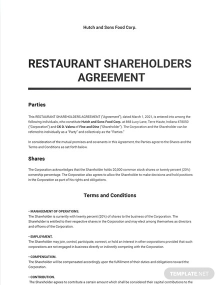 Restaurant Shareholders Agreement Template