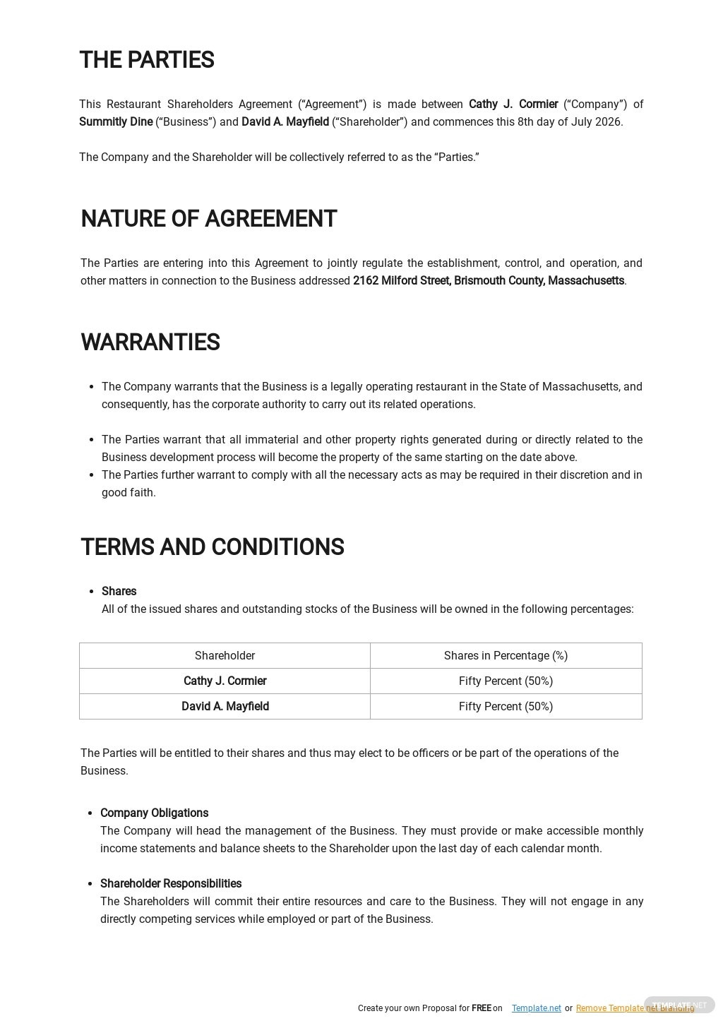 Restaurant Shareholders Agreement Template [Free PDF] - Google Docs, Word, Apple Pages, PDF