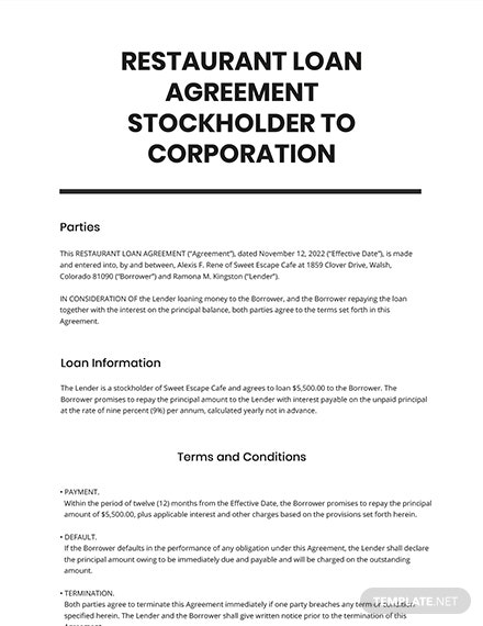 Restaurant Loan Agreement Stockholder to Corporation Template
