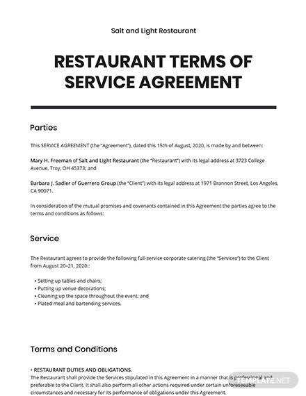 Restaurant Terms of Service Agreement Template
