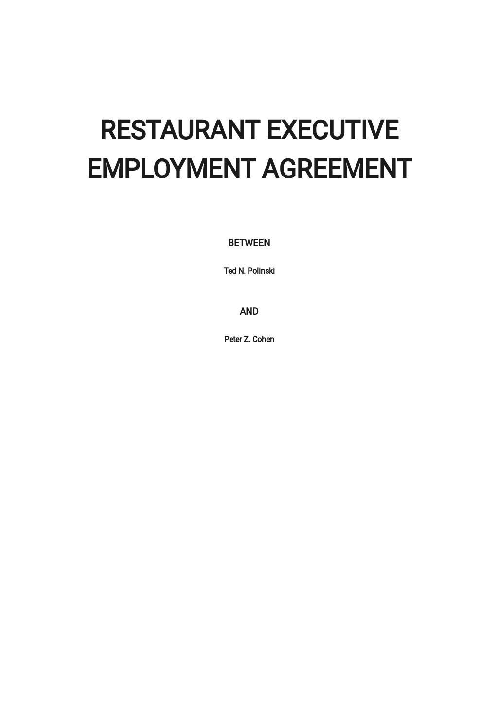 Restaurant Executive Employment Agreement Template