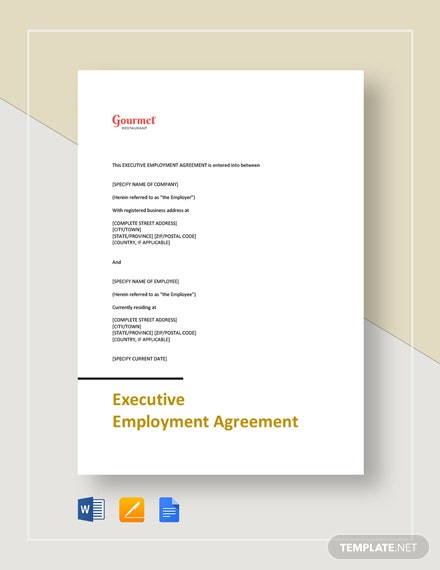 restaurant executive employment agreement