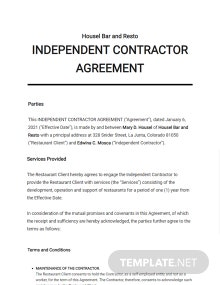 Restaurant Independent Contractor Agreement Template