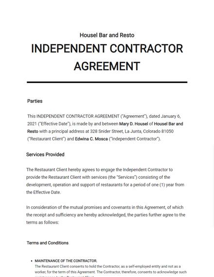 Restaurant Independent Contractor Agreement Template