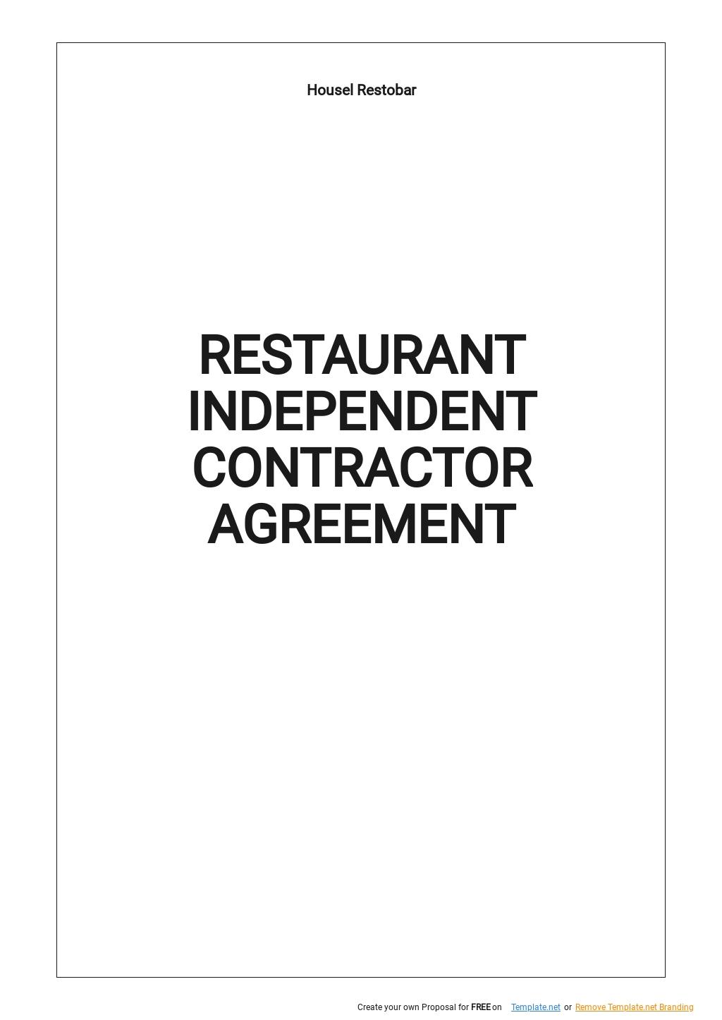 Restaurant Independent Contractor Agreement Template.jpe