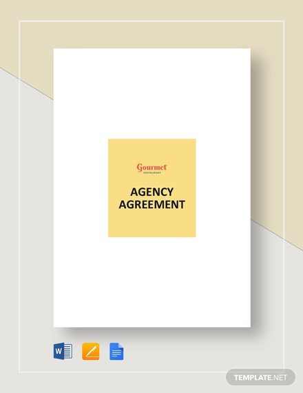 Restaurant Agency Agreement Template