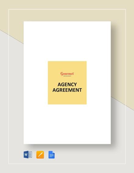 restaurant agency agreement