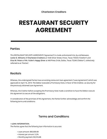 Restaurant Security Agreement Template