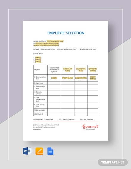 Employee Selection Template