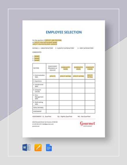 Employee Selection Template