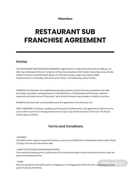 Restaurant Sub Franchise Agreement Template