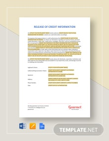 Restaurant Release of Credit Information Template
