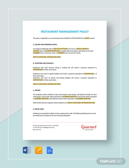 Restaurant Management Policy Template
