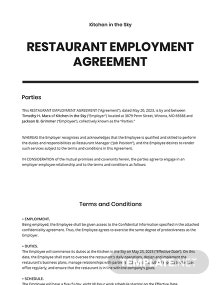 Restaurant Cover Letter Employment Agreement Template