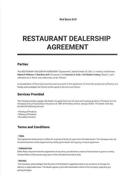Restaurant Dealership Agreement Template